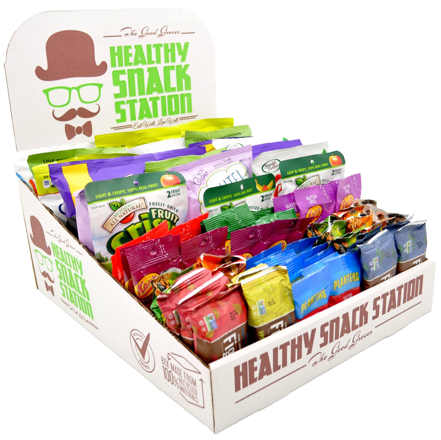 Healthy Snack Station (70 Count) by The Good Grocer - Office Snacks, School Lunches, Variety Pack (Includes Display Box)