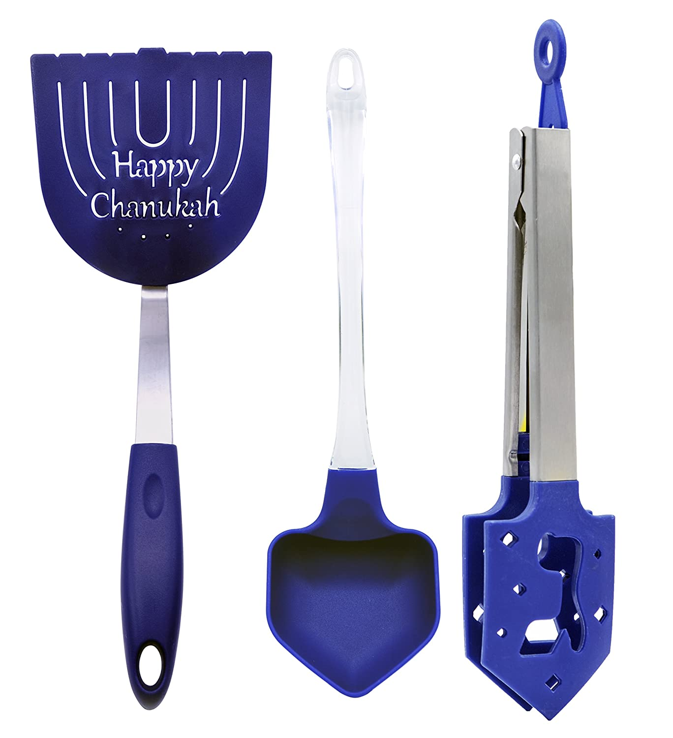 Hanukkah Kitchen Cooking Utensils Set - Includes: Chanukah Latke Spatula, Dreidel Ladle, and Dreidel Shaped Latke Tongs (Set of 3) Rite Lite