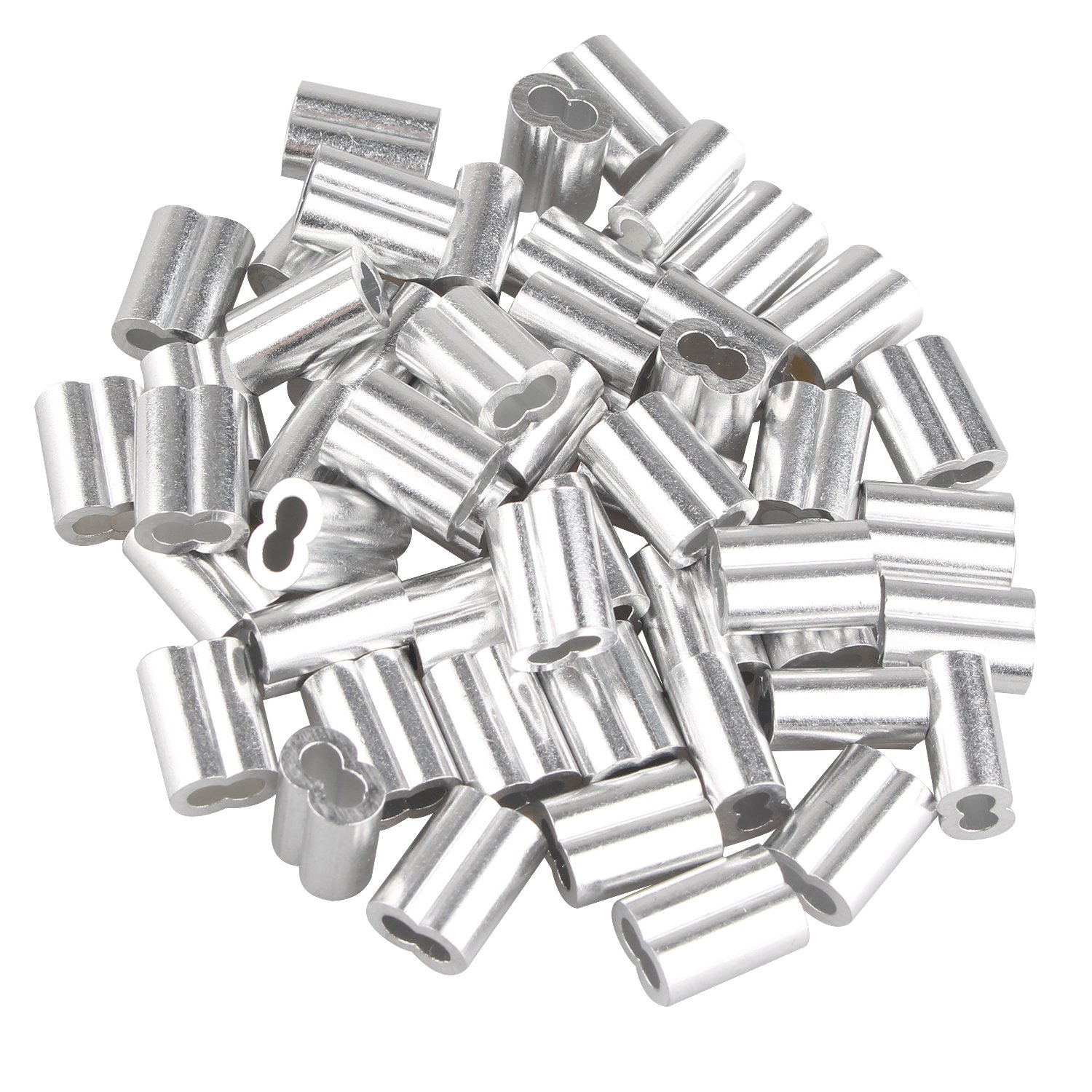 50 pcs Aluminum Crimping Loop Sleeve Clips with Double Ferrules/Holes for 3.0mm Cable Wire Rope Silver Tone Fushengda