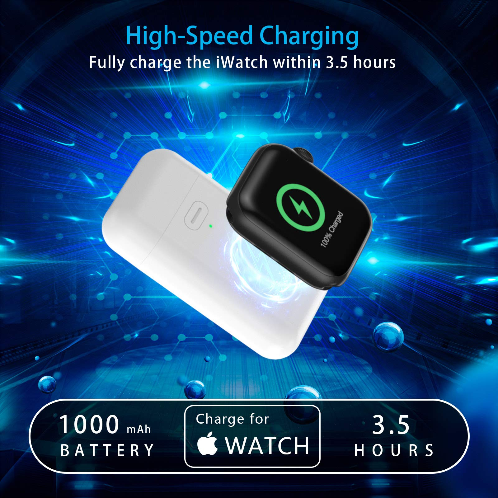 SKNONO Wireless Charger for Apple Watch, Portable Travel Power Bank Charger for iWatch 5/4/3/2/1, Built-in 1000mAh Battery with USB Port【Upgraded Version】