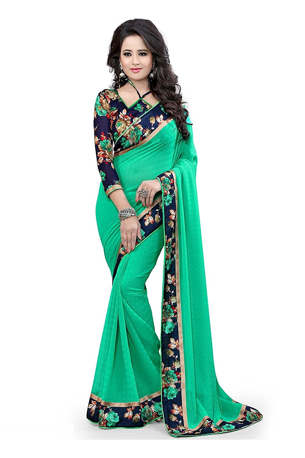Sarees(Vsaree Womens Clothing Saree For Women Latest Design Collection Material Latest Sarees With Designer Beautyful Bollywood Sarees For Women Party Wear Offer Designer Sarees Wedding,For Women, New Collection Sari)(Sky Blue Peacock Patta With Peacock Blouse)