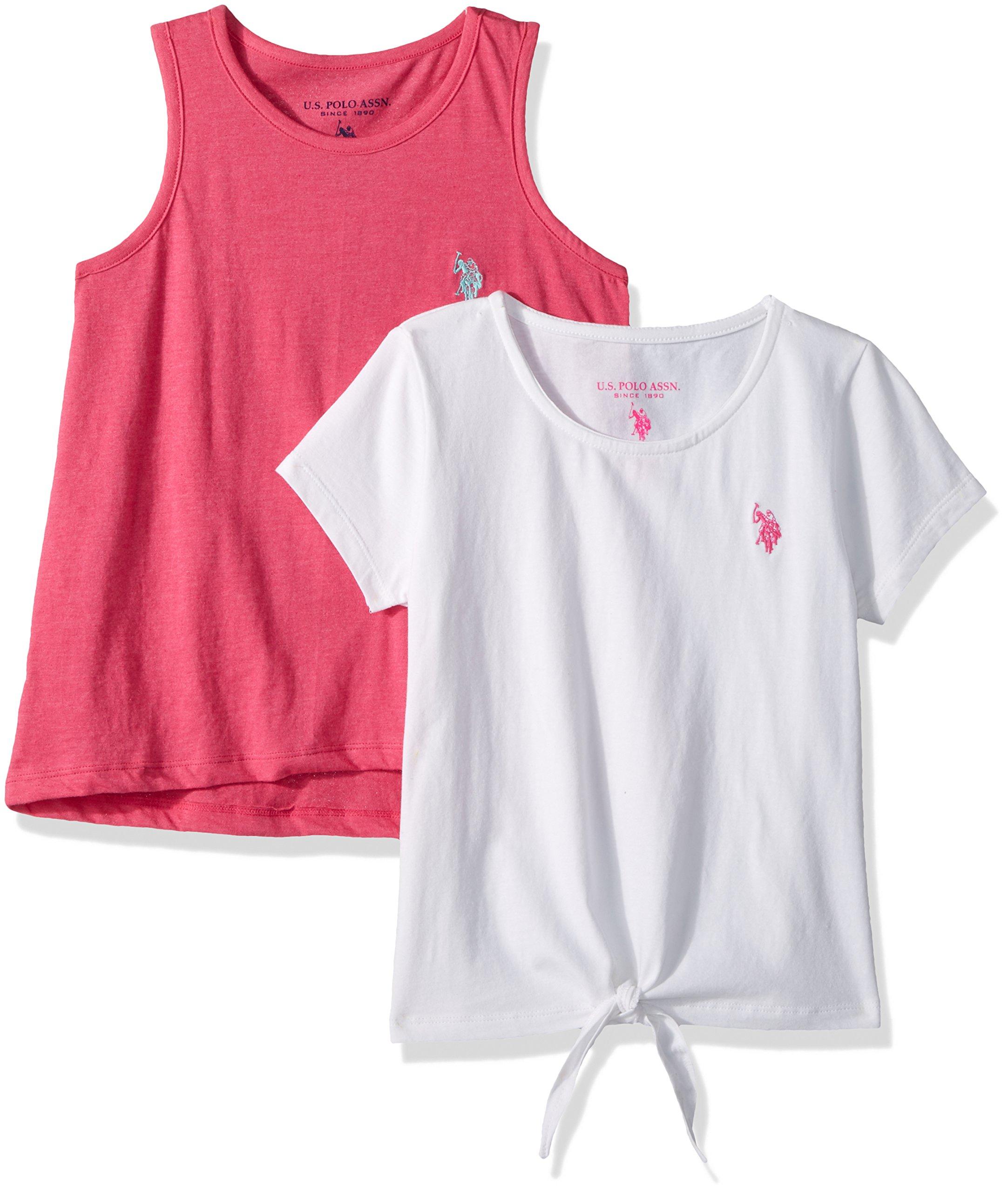 U.S. Polo Assn. Big Girls' T-Shirt and Tank Shirt Pack, Neon Hot Pink Tank White El Multi, 14/16