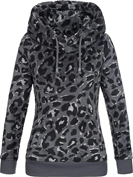 cf444bbcd9dc Sublevel Damen Teddy-Fleece Hoodie Kapuzenpullover LSL-356 Leopard-Print   Amazon.de  Bekleidung
