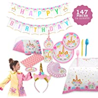 FIG PARTY SUPPLIES AB-135 Unicorn Themed Serves 16, 146Piece – Perfect For Girls Birthday & First Birthday – Bonus Happy Birthday Banner & Table Cloth – Party Plates, Cups & Napkins, Colorful