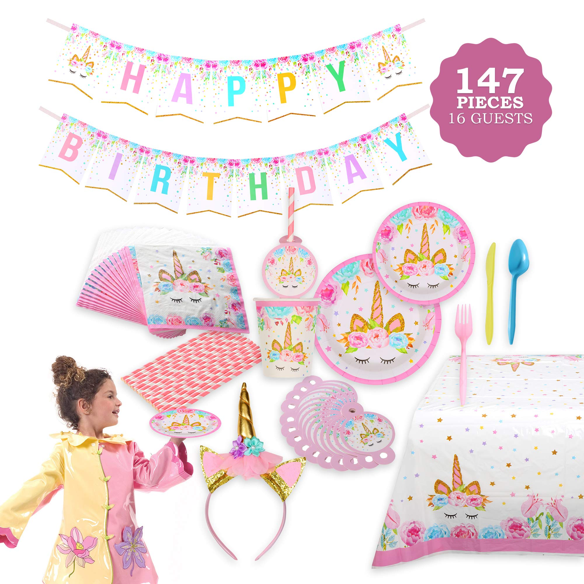 Unicorn Themed Party Supplies Set – Serves 16, 146 Pieces – Perfect For Girls Birthday and First Birthday – BONUS Happy Birthday Banner and Table Cloth – Party Plates,Cups and Napkins