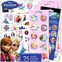 Disney Frozen Tattoos Stickers Set - 75 Assorted Frozen Temporary Tattoos with Party Reward Stickers for Girls