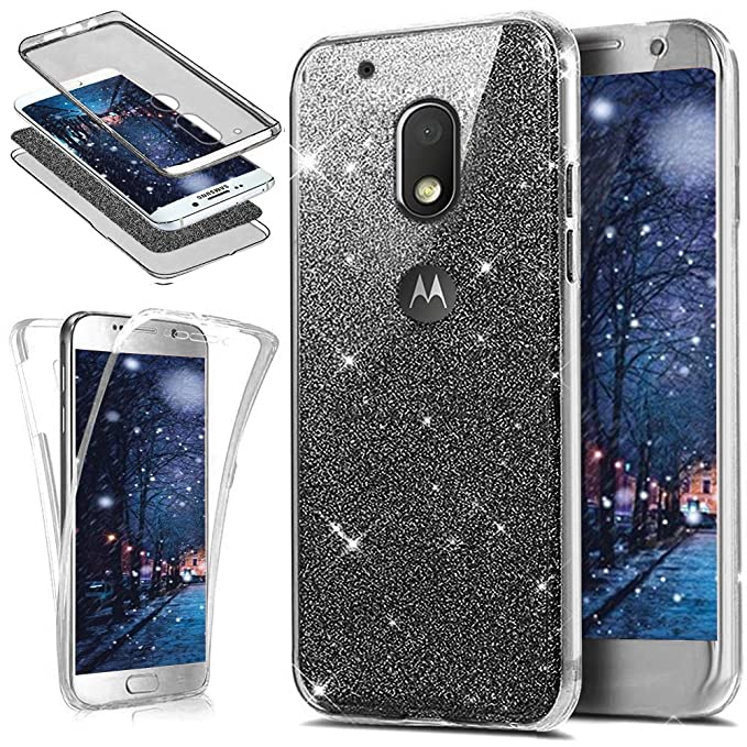 ikasus Motorola Moto G4 Play Case, [Full-Body 360 Coverage] Crystal Clear 2in1 Sparkly Shiny Bling Glitter Front Back Full Coverage Soft TPU Silicone ...