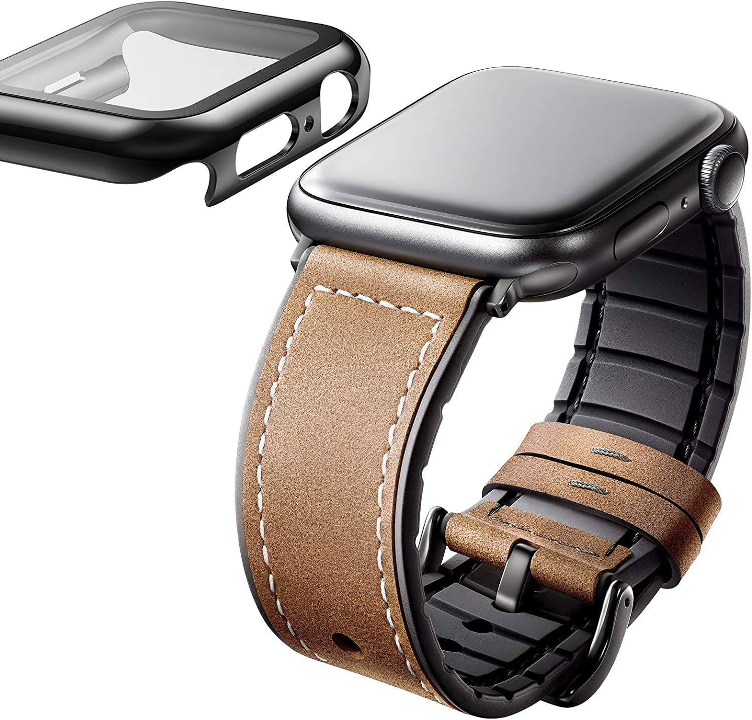 Adepoy Bands Compatible for Apple Watch Band 44mm 42mm 40mm 38mm, Leather Apple watch Bands for Man Women iWatch Series 6/5/4/3/2/1/Se, Genuine Leather Strap with Tempered glass screen protector