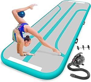 SereneLife Gymnastics Inflatable Air Tumbling Mat - 13 Ft Outdoor/Home Indoor Gymnastics Mat Air Track Tumbling Mat - Floor Tumble Track Mats for Gymnastics, Yoga, Cheerleading SLGM4A (Aquamarine)