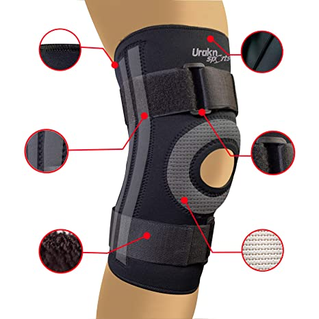 7553070ff9 URAKN SPORTS Knee Stabilizer Brace Open Patella Neoprene Max Compression  Black Thick Compression Knee Brace Sleeve for Weight Lifting, Crossfit,  Support