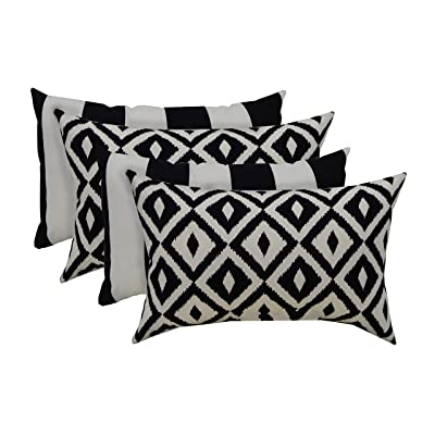 """RSH Décor Indoor Outdoor Mixed Set of 4 Decorative Rectangular Lumbar Throw Pillows ~ Black and White Aztec Geometric and Black & White Stripe Fabric Pillows (20"""" W x 12"""" H) : Industrial & Scientific"""