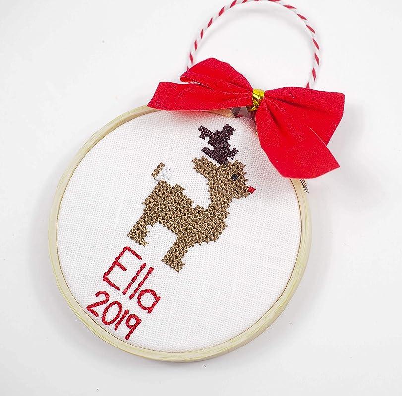 Emoji Christmas Ornament Your Design Custom Cross Stitch Hand Stitched Personalized