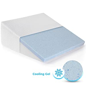 Healthex Bed Wedge Pillow Cooling Gel Memory Foam Top – Elevated Support Cushion for Lower Back Pain, Acid Reflux, Heartburn, Allergies, Snoring – Ultra Soft Removable Cover – 10 inch Wedge