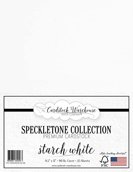Cover 25 Sheets 8.5 x 11 inch Madero Beach White SPECKLETONE Recycled Cardstock Paper Premium 80 LB