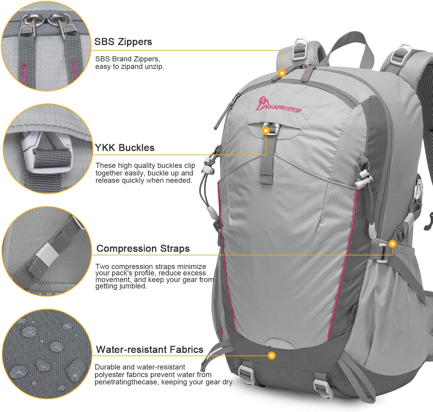 MOUNTAINTOP 35L Trekking Rucksack Hiking Backpack for Men Women Outdoor Traveling pack Daypack With Rain Cover Water Resistent