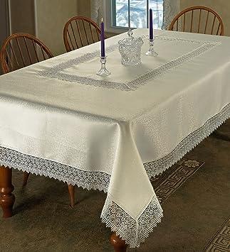 Violet Linen Treasure Lace Oblong/Rectangle Tablecloth, 70u0026quot; X  120u0026quot;, ...