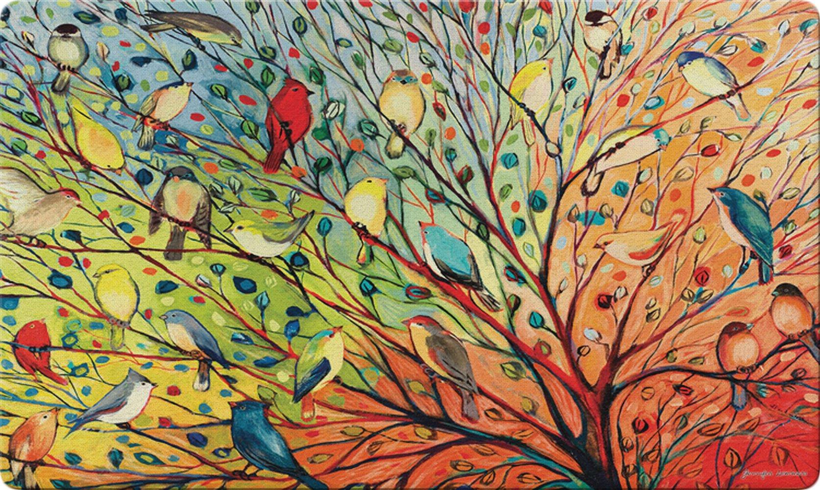 Toland Home Garden Tree Birds 18 x 30 Inch Decorative Floor Mat Colorful Bird Branch Collage Doormat