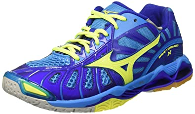 check out 2362a 50abf Mizuno Men s V601B15 Wave Tornado X Blue Yellow Volleyball Shoes-6 UK India