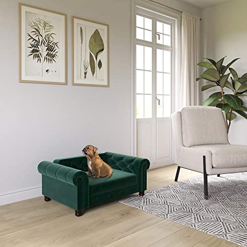 Ollie Hutch Felix, Small Medium Size Pet Bed, Green Velvet Sofas