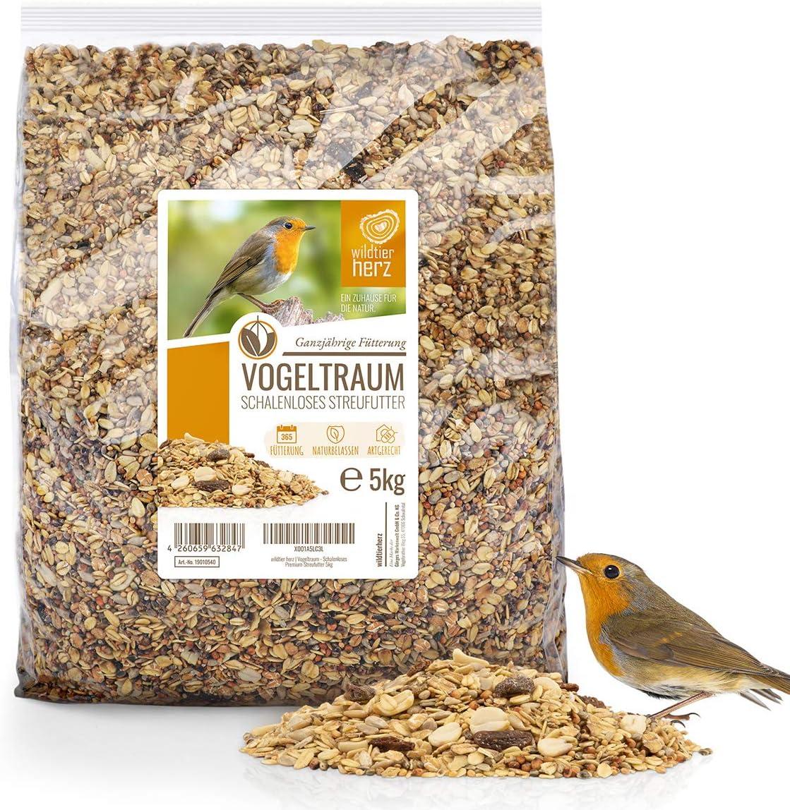 wildtier herz Sueño de pájaro sin Concha - alimento Premium para pájaros 5 kg, alimento para pájaros Silvestres sin Trigo, alimentación terrestre, Arena para pájaros