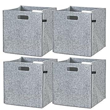 Regalkorb Filz Aufbewahrungsbox Filztasche faltbar 3er Set Filzkorb anthrazit