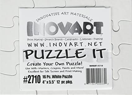 Amazon.com: Inovart Puzzle-It 16-Piece Blank Puzzle, 12 Puzzles Per ...