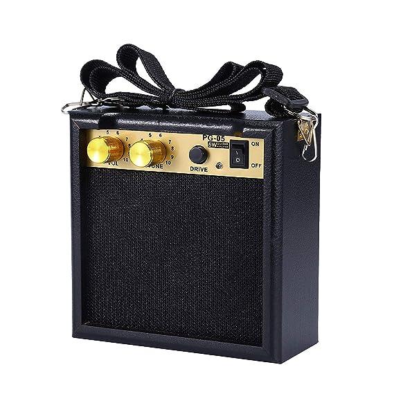 Asmuse Mini Amplificador guitarra 5W Combo Bajo Eléctrico Instrumentos Amp con efecto de overdrive y Batería Recargable: Amazon.es: Instrumentos musicales