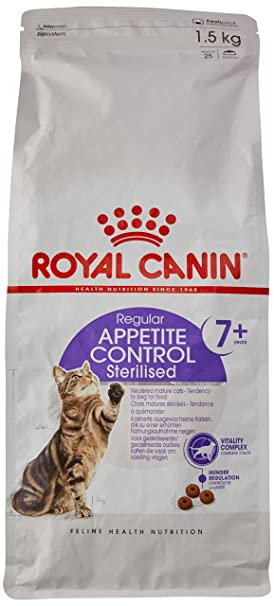 ROYAL CANIN - Comida para gato seco esterilizada Appetite Control 7 Plus 1,5 kg: Amazon.es: Productos para mascotas