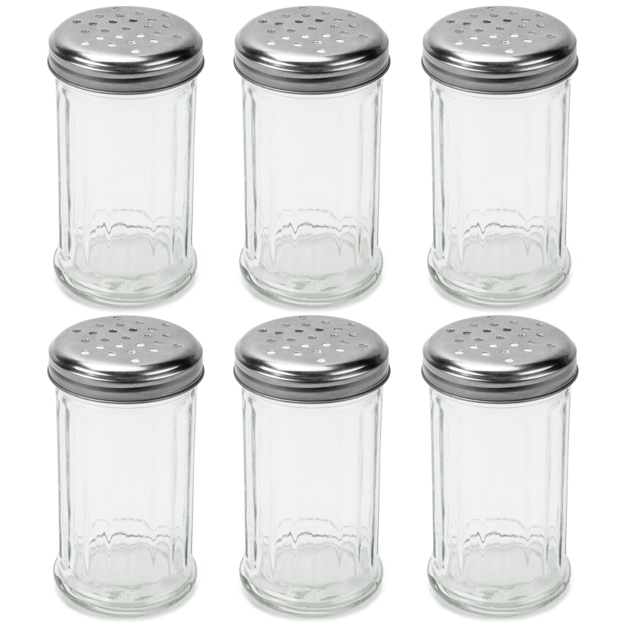 Set of 6 Spice & Cheese Shakers - 12 oz. Glass Server with Metal Lid for Parmesan and Mozzarella by Back of House Ltd.