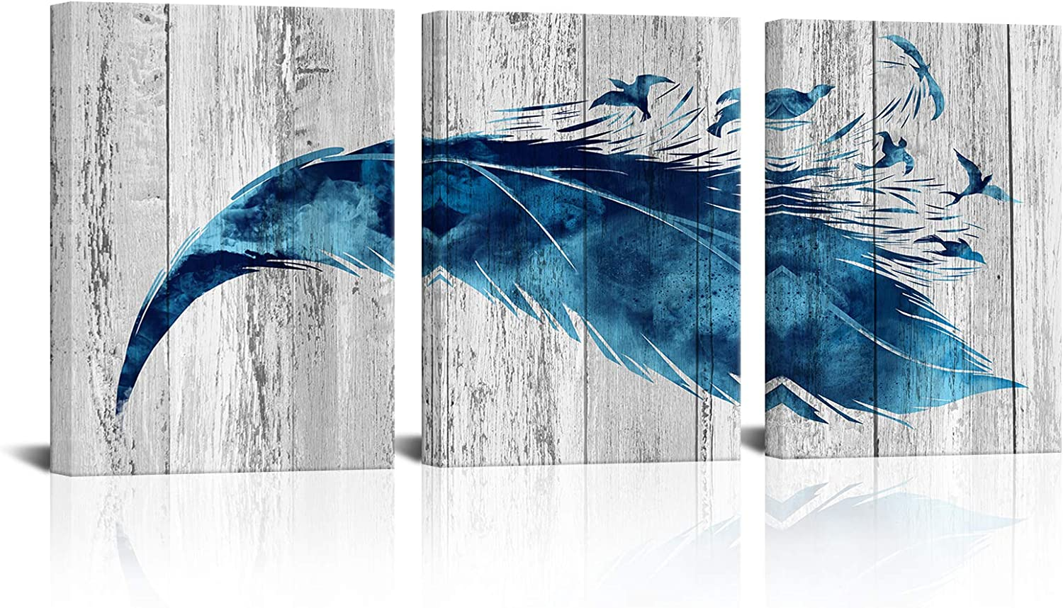 Kalormore Rustic Grey and Blue Canvas Wall Art Decor Abstract Feather and Flying Birds Picture Giclee Prints for Modern Living Room Bedroom Bathroom Decoration Ready to Hang