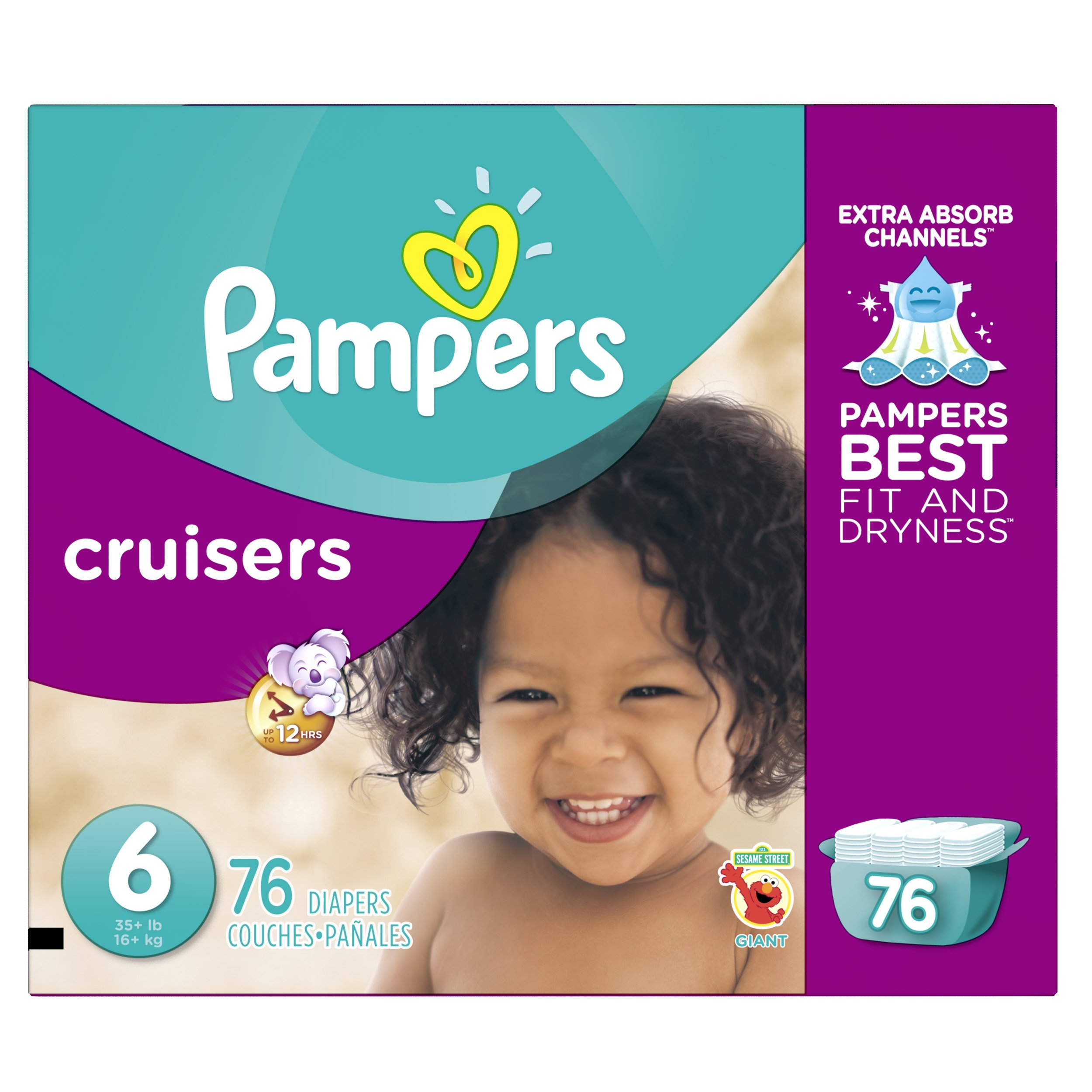 Pampers Cruisers Disposable Diapers Size 6, 76 Count, GIANT product image