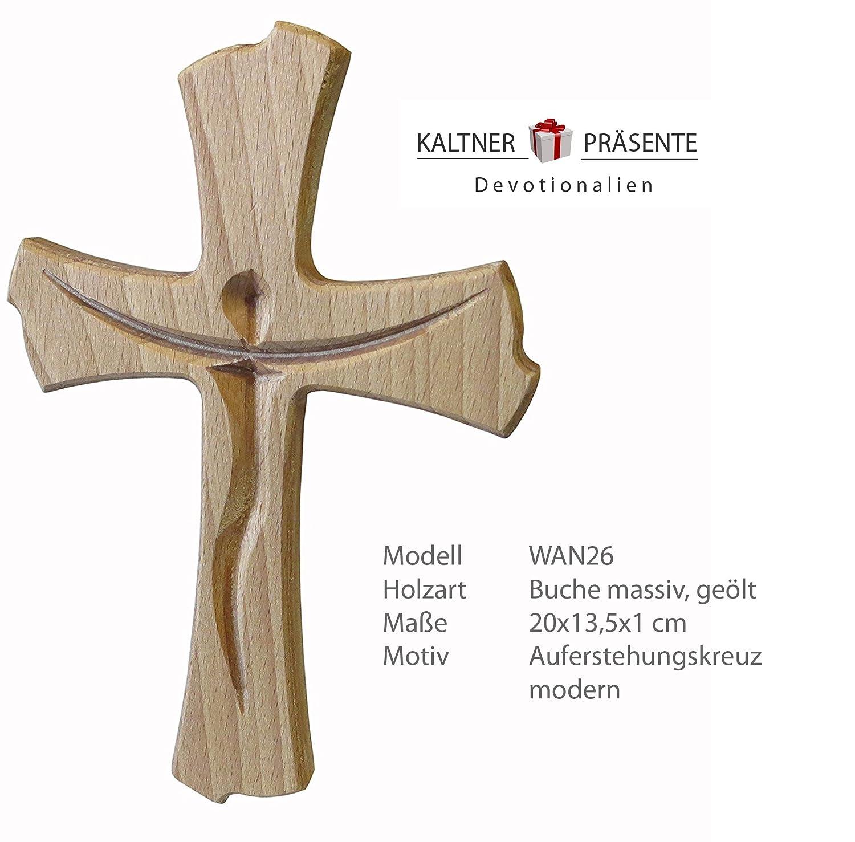 Kaltner Pr/äsente Geschenkidee Wandkreuz Echt Buche Holz Kreuz Kruzifix f/ür die Wand 20 cm modern