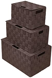 Sorbus Storage Box Woven Basket Bin Container Tote Cube Organizer Set Stackable Storage Basket Woven Strap Shelf Organizer Built-in Carry Handles (Chocolate)