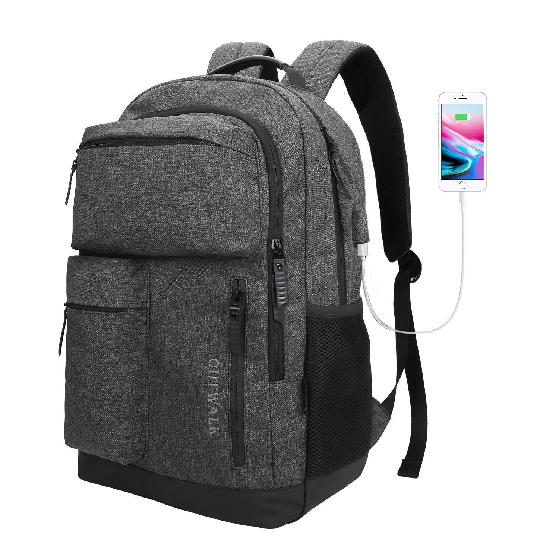 Laptop Backpack, Business Travel Backpack USB Charging Port Women & Men, Waterproof Fashion College High School Bookbag Computer Bag, Fits 15.6 inch Laptop Notebook - Dark Grey Arrutesk Direct ALP-BKP-1BP