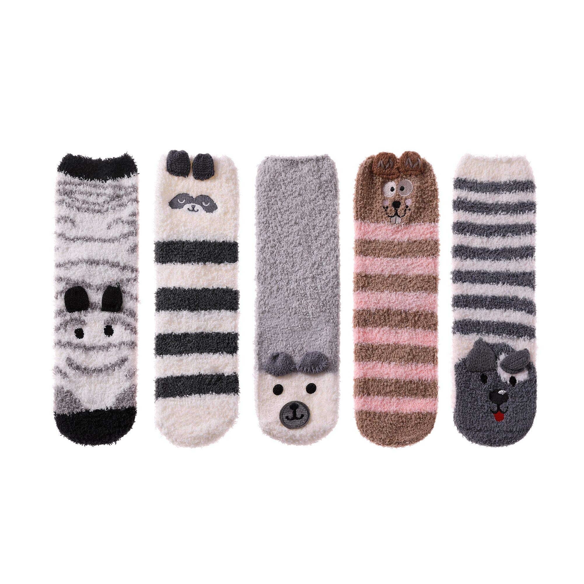 LINEMIN Women Girls Super Soft Warm Cute 3D Animals Slipper Sleeping Winter Crew Fuzzy Socks Value Pack (5 Pack Stripe Gray Color)