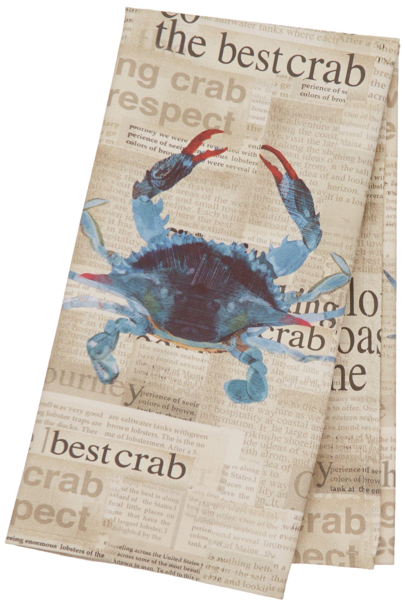Paperproducts Design Kitchen Towel Featuring Best Crab Design, Blue