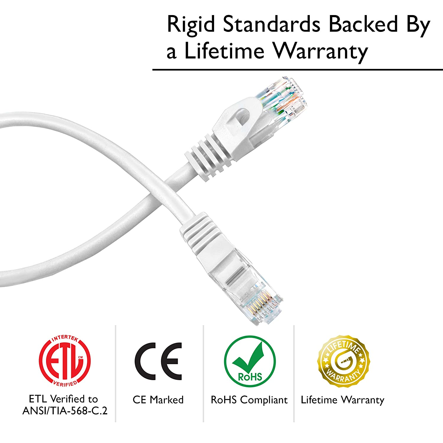 Preimum Series White GearIT 20-Pack Cat6 Patch Cable 5 Feet Cat 6 Ethernet Cable Snagless Flexible Soft Tab
