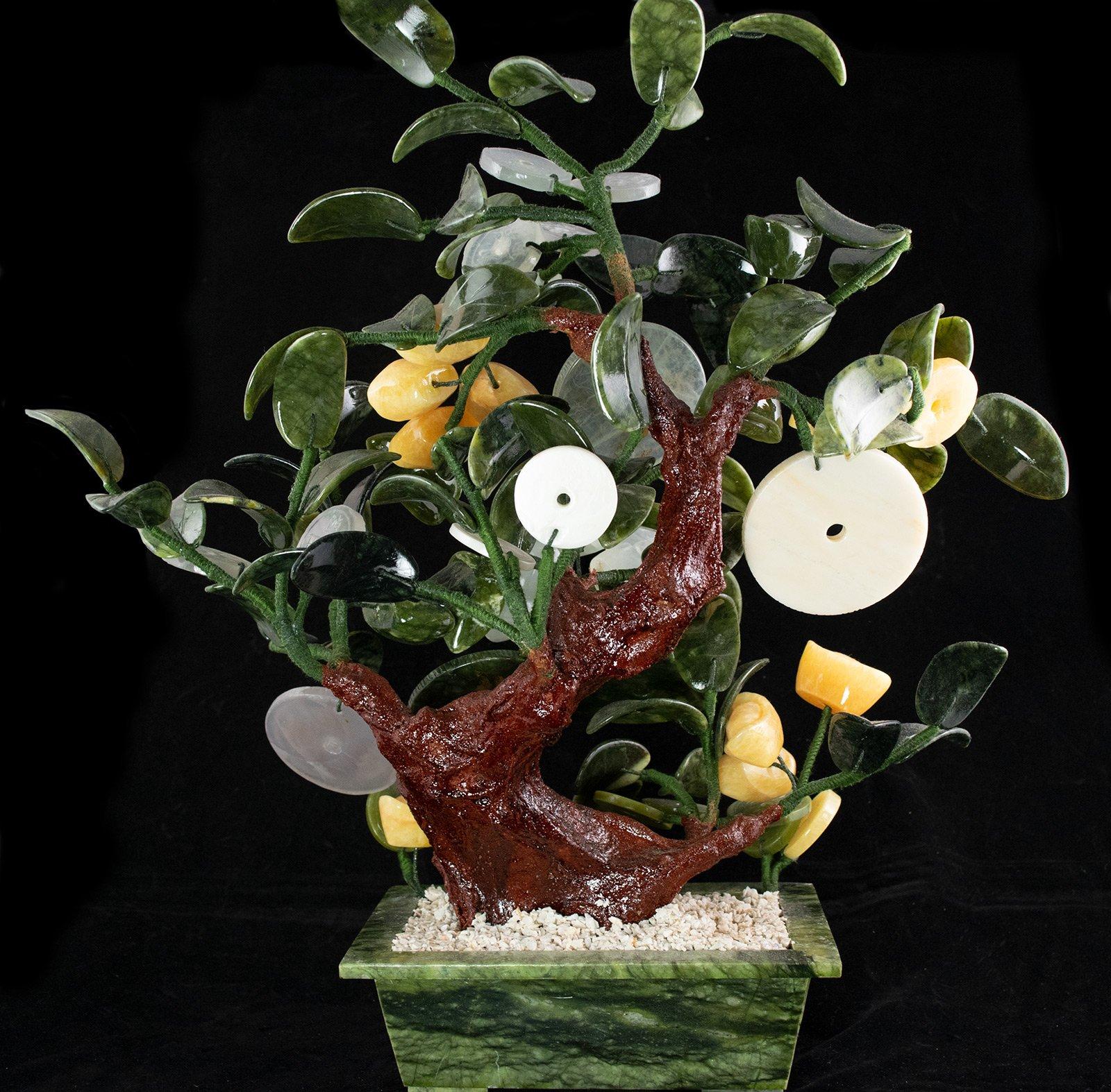 Vintage Chinese Carved Jade & Semi Precious Stone Shohin Bonsai Tree # 104
