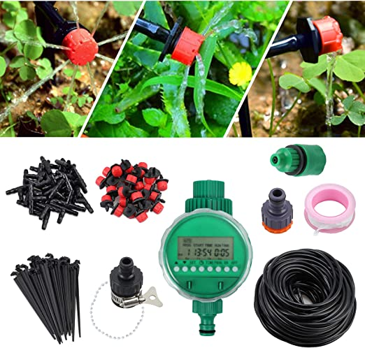 Sistema de Riego por Goteo Bricolaje Riego Automatico de 25 M / 82 pies 4 mm Incluye Temporizador Kit de Riego por Goteo Irrigación para Jardín Patio de Flores Invernadero Parque Huerto: Amazon.es: Jardín