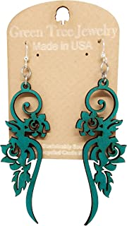 product image for Long Flower Wooden Earrings for Women with Stainless Steel Hooks,Teal Green