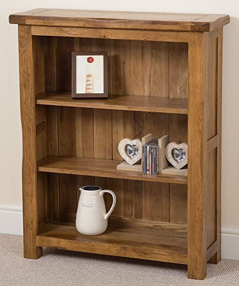 Cotswold Rustic Small Solid Oak Bookcase Office Furniture, (890 X 300 X  1,090 Cm