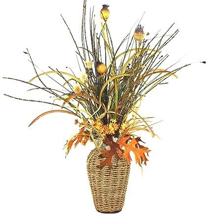 Amazon basket weave silk flower arrangement large table basket weave silk flower arrangement large table centerpiece living room decor dining room decor mightylinksfo