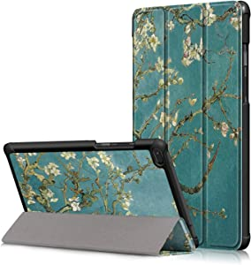 AIJAKO Lenovo Tab E8 2018 Folio Case, Ultra Slim Tri-Fold Magnetic Stand Shell Cover Compatible with Lenovo Tab E8 8'' Tablet 2018 Release Model TB-8304F (Blossom)