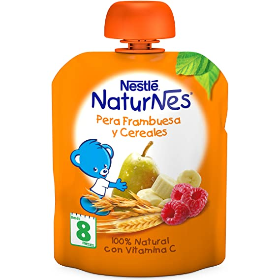 Nestlé Naturnes - Bolsita de Pera, Frambuesa y Cereales - A Partir de 8 meses