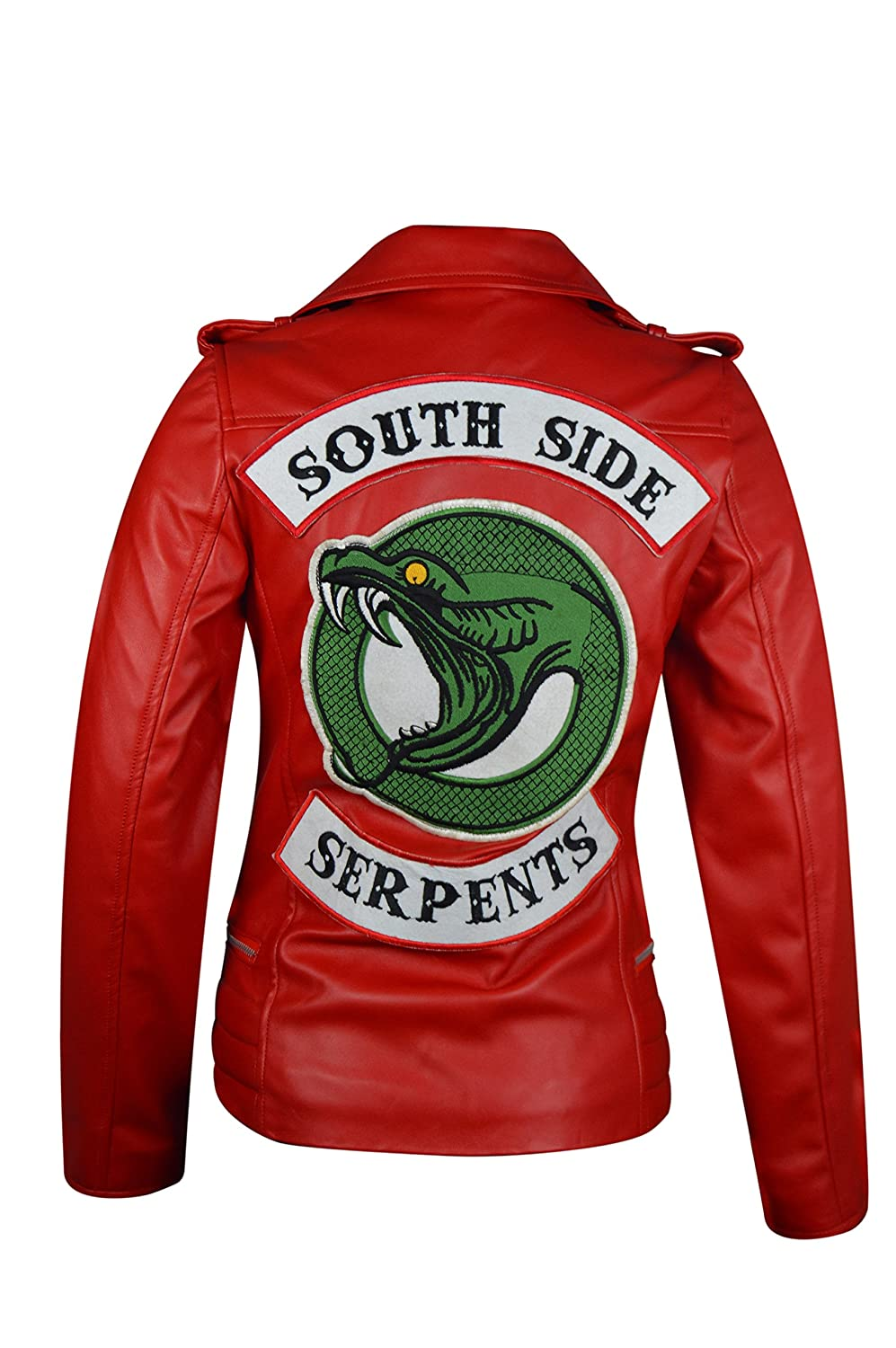 The Jasperz Riverdale Southside Serpent Red Leather Jacket for Women, XXS-3XL
