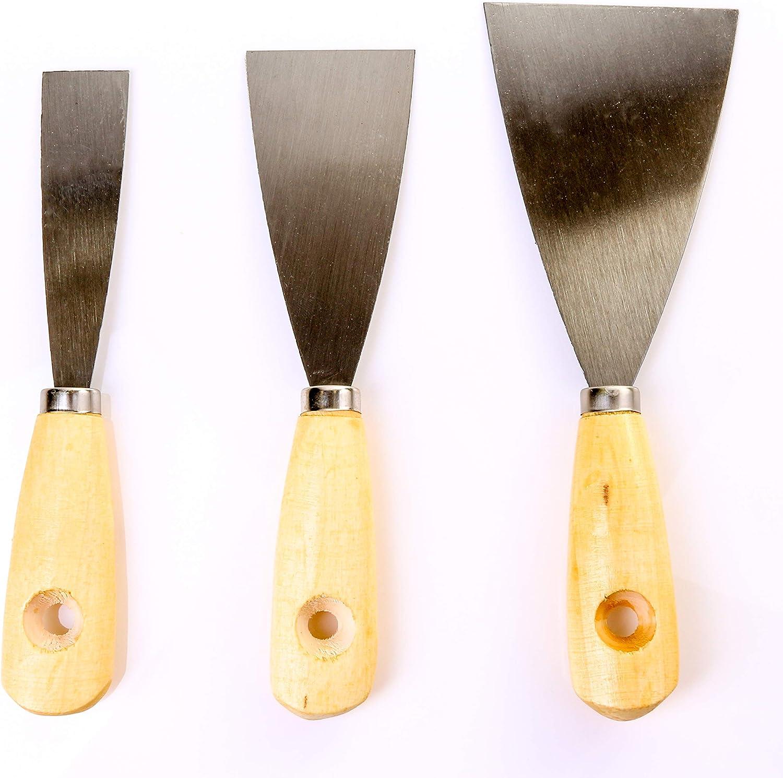 3PC Ensemble de Grattoir avec poign/ées en bois 25/mm/ /75/mm Id/éal pour peinture et papier peint retrait