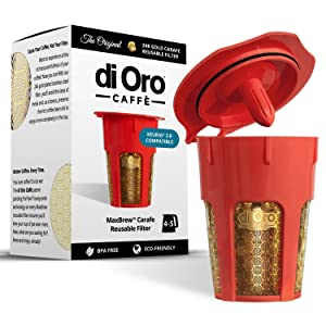 DI ORO - MaxBrew 24K Gold Reusable K-Carafe Filter for Keurig 2.0 - K-Cup Reusable 4-5 Cup Carafe Filter for Keurig 2.0