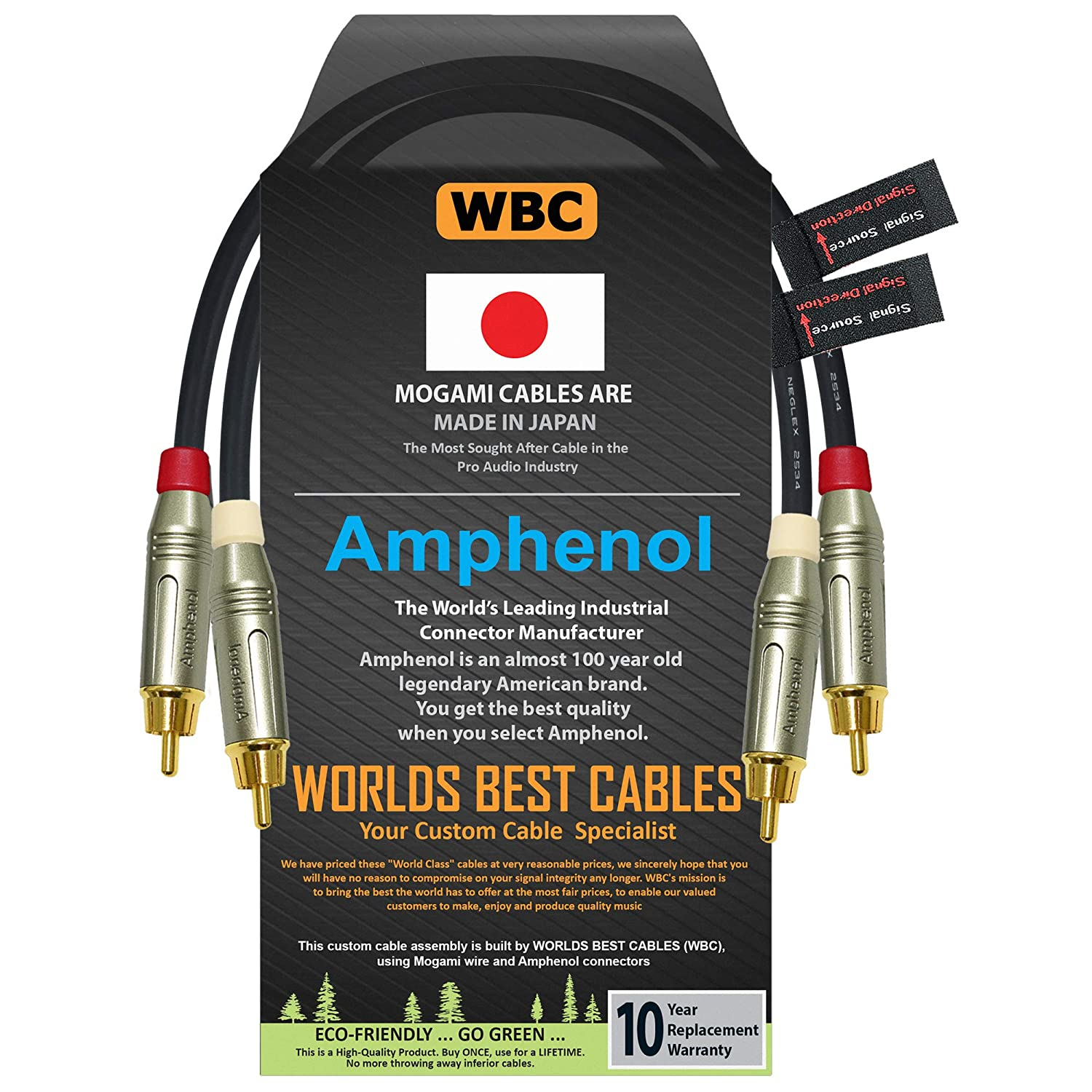 2 Foot Directional Quad High-Definition Audio Interconnect Cable Pair Custom Made by WORLDS BEST CABLES Using Mogami 2534 Wire and Amphenol ACPR Die-Cast Gold Plated RCA Connectors