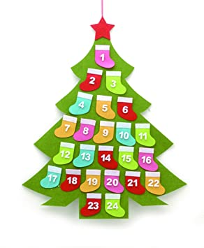 Festive Productions Green Felt Christmas Tree Advent Calendar with ...