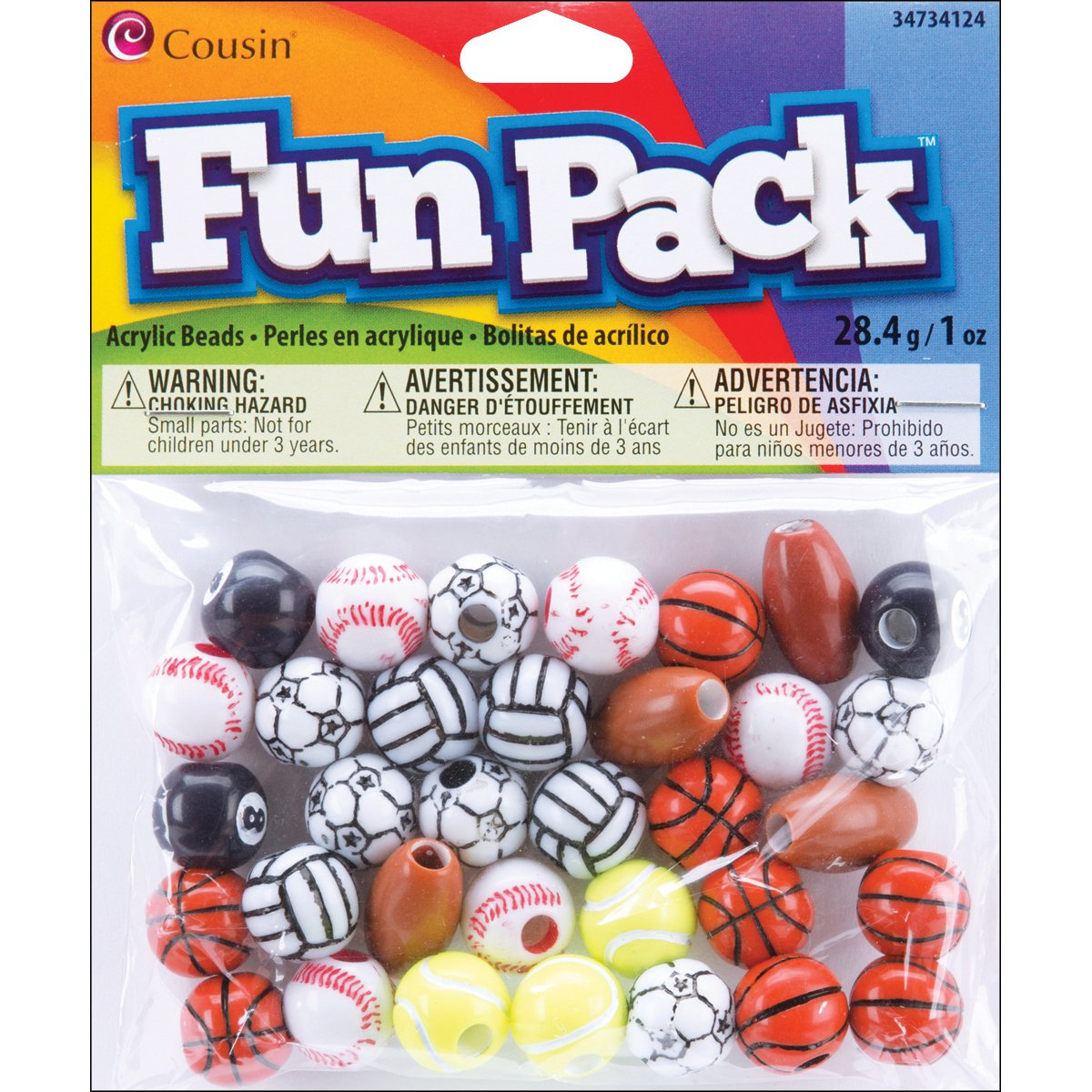 Cousin 34734124 Fun Packs 1 Ounce Bag Assorted Sports Beads